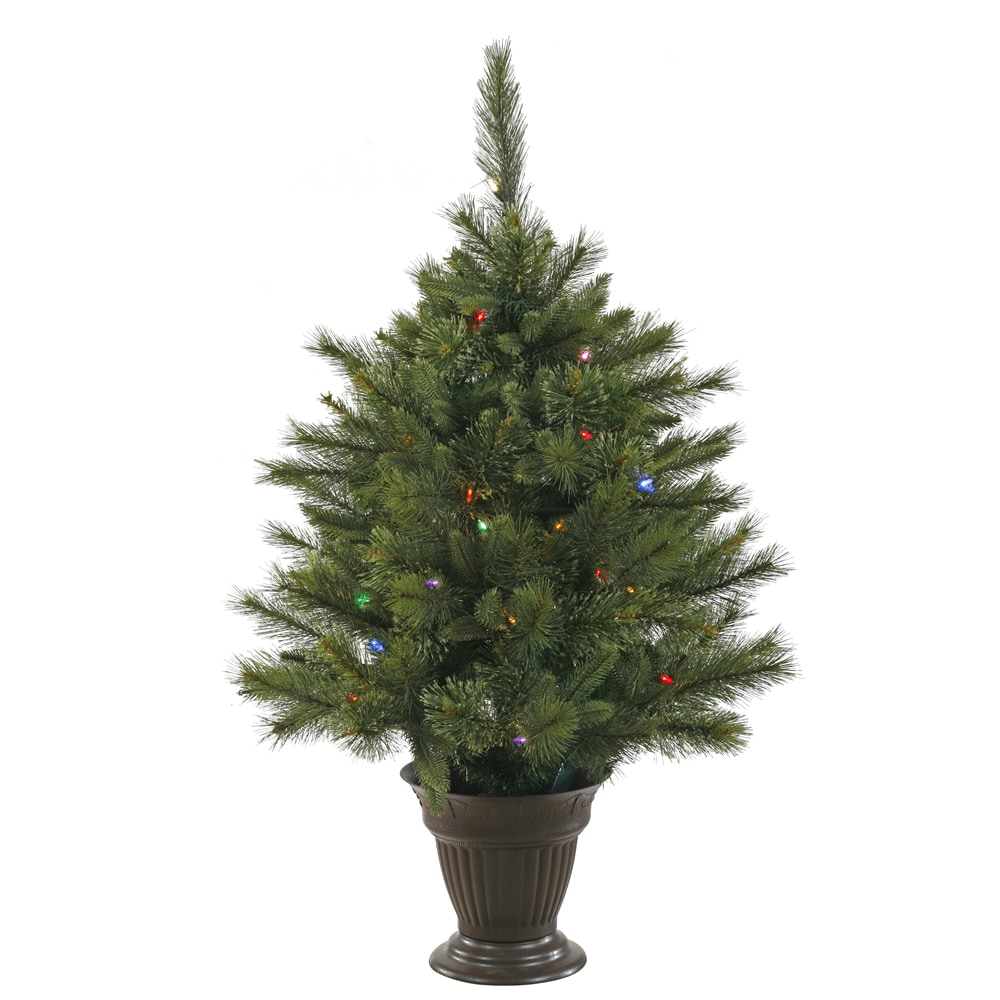 35 pre lit battery operated cashmere potted christmas tree multi led lights - Potted Christmas Tree