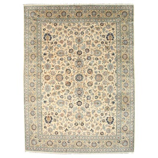 EORC Hand Knotted Wool Beige Persian Kashan Rug (10'7 x 14'4)