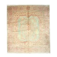 Hand-knotted Wool Green Traditional Oriental Open-Field Medallion Kerman Rug (13'3 x 14'10)
