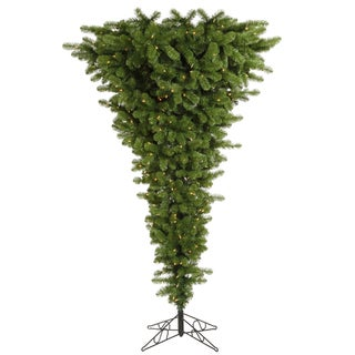 "7.5' x 60"" Green Upside Down Tree with 500 Clear Dura-Lit Lights"