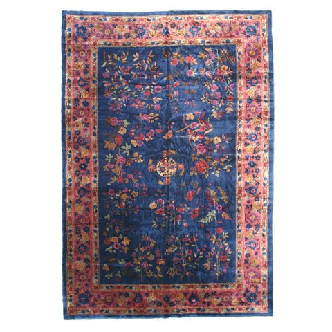 "Hand-knotted Wool Blue Traditional Oriental Antique Chinese Feti Rug (11'11 x 17'5) - 11'11"" x 17'5"""