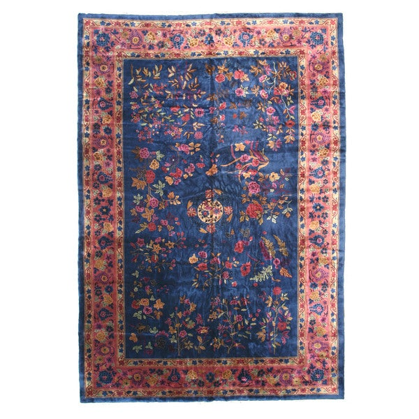 Shop Hand-knotted Wool Blue Traditional Oriental Antique