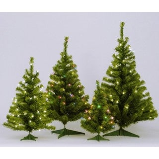 """30"""" Canadian Pine Tree with Multi-color Mini Lights and Plastic Stand"""