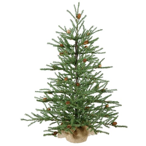 Carmel Pine 30-inch Artificial Christmas Tree with Cones and Burlap Base