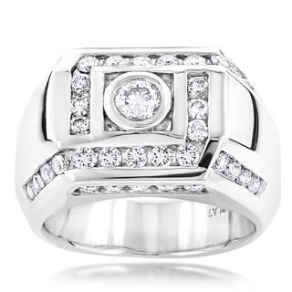 Luxurman Platinum Men's 2ct TDW Pave Diamond Ring (F-G, VS1-VS2)|https://ak1.ostkcdn.com/images/products/10602340/P17674677.jpg?impolicy=medium