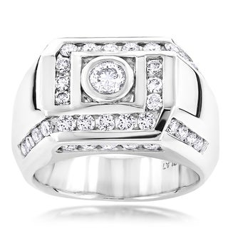 Luxurman Platinum Men's 2ct TDW Pave Diamond Ring (F-G, VS1-VS2)
