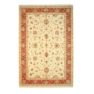 Hand-knotted Wool Ivory Traditional Oriental Agra Rug (12' x 18')