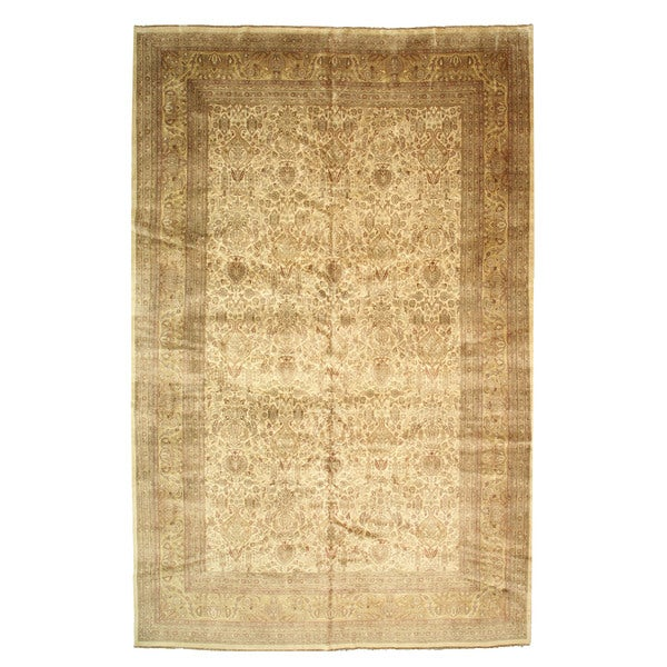Hand-knotted Wool Ivory Traditional Oriental Sarouk Rug - 11'4 x 17'8