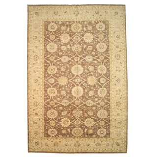 Hand-knotted Wool Brown Traditional Oriental Peshawar Rug (12'2 x 18'2)