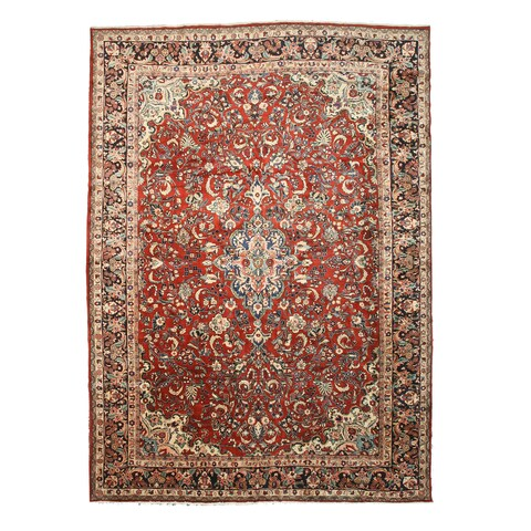 """Hand-knotted Wool Rust Traditional Oriental Mahal Rug (12'2 x 17') - 12'2"""" x 17'"""