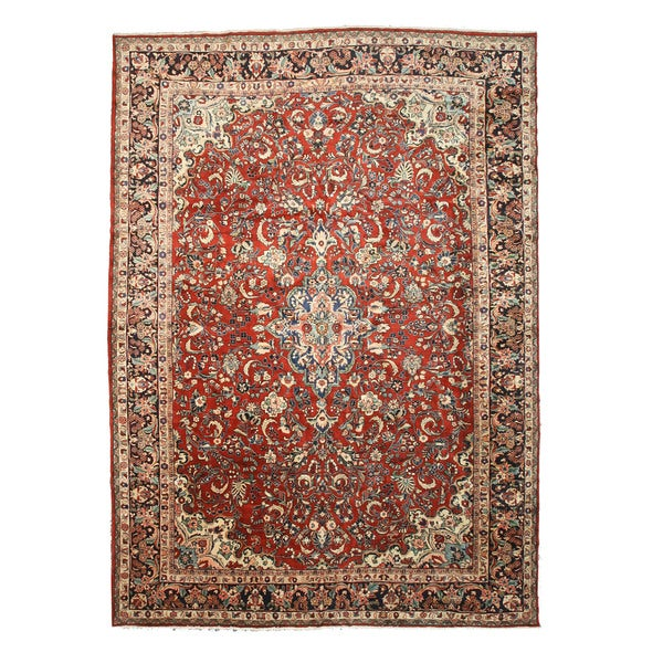 "Hand-knotted Wool Rust Traditional Oriental Mahal Rug (12'2 x 17') - 12'2"" x 17'"