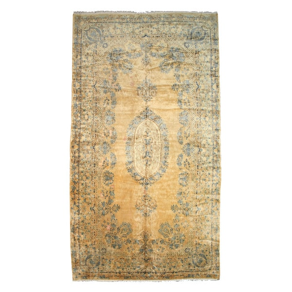"Hand-knotted Wool Spots Traditional Oriental Kerman Rug (11'7 x 21'3) - 11'7"" x 21'3"""