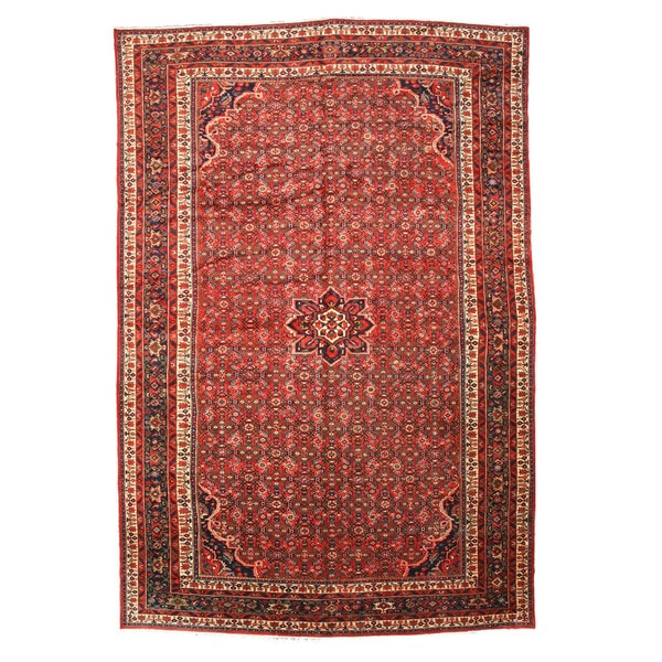Hand-knotted Wool Red Traditional Oriental Hosseinabad Rug - 11'3 x 16'7