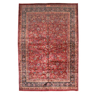EORC Hand Knotted Wool Red Mashad Rug (11' x 16'4)