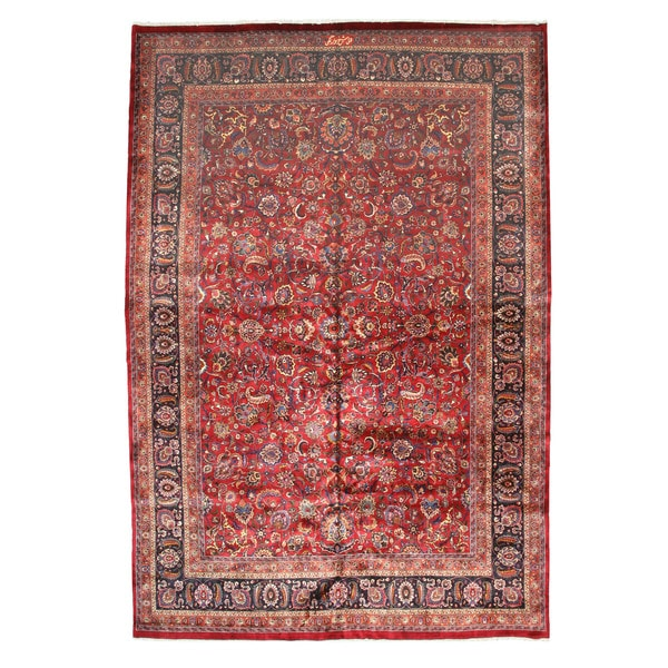 Hand Tufted Traditional Oriental Red Wool Rug With Non: Shop Hand-knotted Wool Red Traditional Oriental Mashad Rug