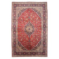 """Hand-knotted Wool Red Traditional Oriental Medallion Kashan Rug (12'10 x 19'6) - 12'10"""" x 19'6"""""""