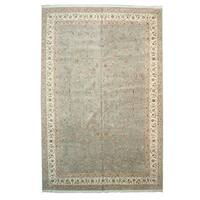 Hand-knotted Wool & Silk Blue Traditional Oriental Floral Tabriz Rug (12' x 18')