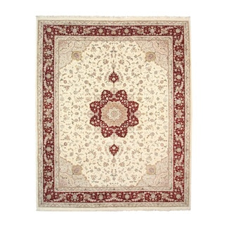 EORC Hand Knotted Wool & Silk Ivory Floral Tabriz Rug (12' x 15')