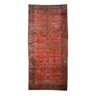 EORC Hand Knotted Wool Rust Antique Sarouk Rug (11'2 x 24')