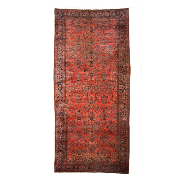 """Hand-knotted Wool Rust Traditional Oriental Antique Sarouk Rug (11'2 x 24') - 11'2"""" x 24'"""