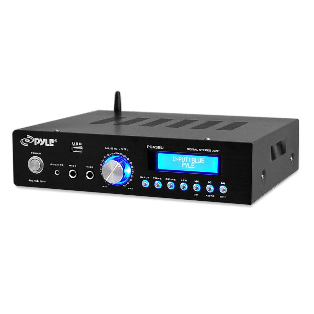 200-watt Blue LCD Screen Bluetooth/ AM/FM Radio/ USB/ SD Card Stereo Amplifier with Remote ( Amplifier) - Pyle PDA5BU
