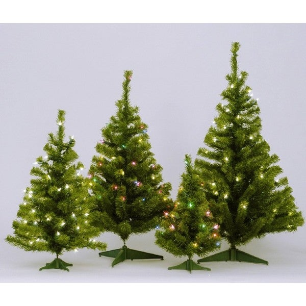 3' Pre-Lit Canadian Pine Artificial Christmas Tree - Multi Lights ...