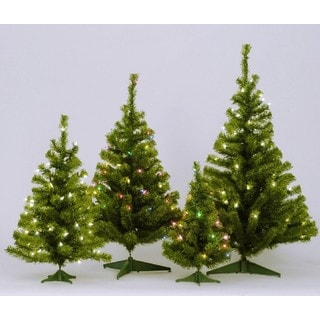 """36"""" Canadian Pine Tree with Multi-color Mini Lights and Plastic Stand"""