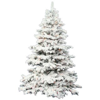"36"" Flocked Alaskan Tree with 100 Multi-Colored LED Lights"
