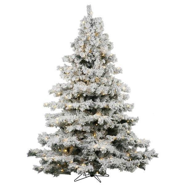 36 flocked alaskan tree with 100 warm white italian led lights