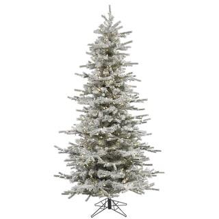 "7.5' x 50"" Flocked Slim Sierra Tree with 700 Warm White Italian LED Lights (As Is Item)"