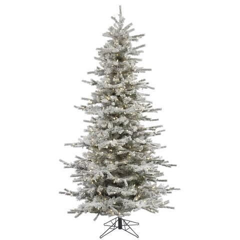 "7.5' x 50"" Flocked Slim Sierra Tree with 700 Warm White Italian LED Lights"