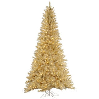 """7.5' x 48"""" White/Gold Tinsel Tree with 700 Clear Mini Lights"""