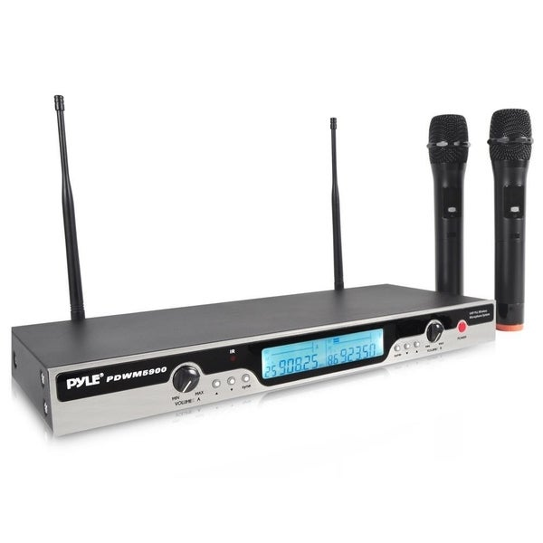 shop pyle pdwm5900 rack mount uhf wireless microphone system with 2 handheld mics free. Black Bedroom Furniture Sets. Home Design Ideas