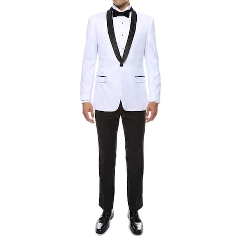 Zonettie by Ferrecci Men's Premium Slim Fit Shawl Collar 2-piece Tuxedo
