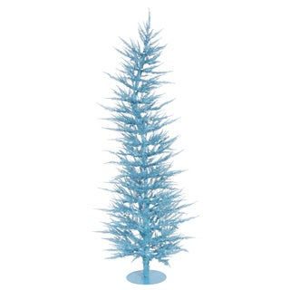 """4' x 19"""" Sky Blue Laser Tree with 70 Blue Mini Lights and 608 PVC Tips"""