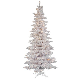 "7.5' x 43"" Flocked White Slim Tree with 400 Clear Dura-lit Lights"