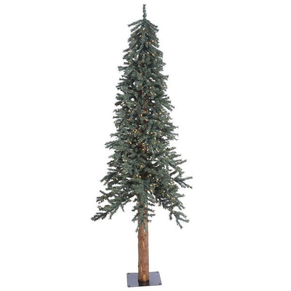 Shop 7 X 44 5 Quot Natural Bark Alpine Tree With 300 Clear