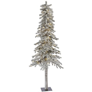 "7' x 41"" Flocked Alpine Tree with 300 Warm White Italian LED Lights"