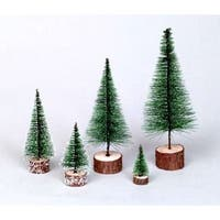 "7"" Green Frosted Artificial Village Christmas Tree - Unlit"