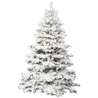 "6.5' x 62"" Flocked Alaskan Tree with Tree with 600 Multi-Colored Italian LED Lights"