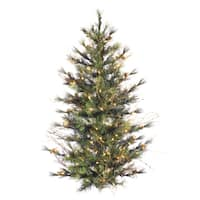 "4' x 40"" Mixed Country Pine Wall Tree with 150 Clear Lights"