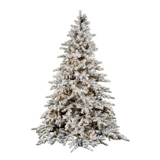 "6.5' x 59"" Flocked Utica Fir Tree with 1224 PVC Tips and 600 Dura-lit Lights"