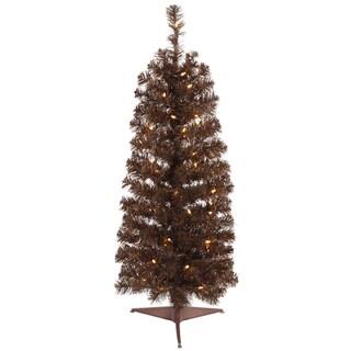 4.5' Pre-Lit Mocha Brown Artificial Pencil Tinsel Christmas Tree - Clear Lights