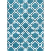 Well-woven Bright Modern Lattice Trellis Geometric Rug (5' x 7')