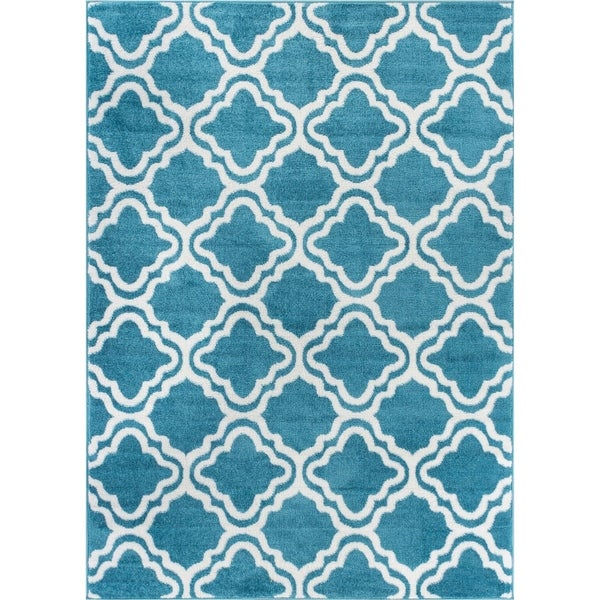 Well Woven Bright Modern Lattice Trellis Geometric Area Rug