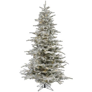 "6.5' x 53"" Flocked Sierra Tree with 943 Tips 550 and Warm White Italian LED Lights"