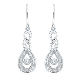 10K White Gold 1/4ct TDW White Dancing Diamond Fashion Earring