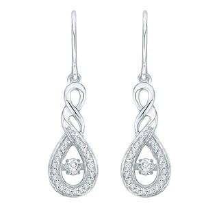 10K White Gold 1/4ct TDW White Dancing Diamond Fashion Earring
