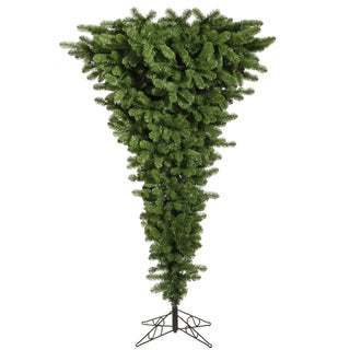 "5.5' x 38"" Green Upside Down Tree with 250 Multi-Colored LED Lights"