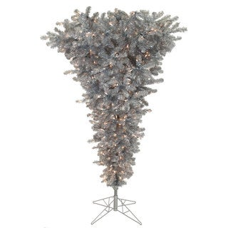 """5.5' x 38"""" Silver Upside Down Tree with 250 Clear Dura-Lit Lights"""
